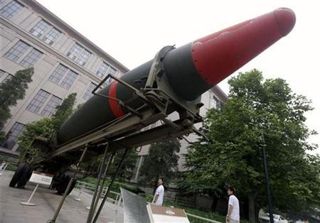 Visitors look at a Dongfeng-2 missile at the Chinese Military Museum in Beijing, August 13, 2010. REUTERS/Jason Lee