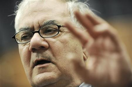 Representative Barney Frank (D-MA) gestures during a news conference on issues before the House Financial Services Committee on Capitol Hill in Washington, in this November 3, 2009 file photo. REUTERS/Jonathan Ernst