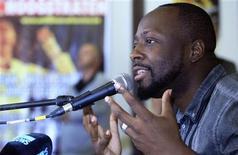 <p>Wyclef Jean durante coletiva de imprensa antes de seu show em um festival de música, o Antilliaanse Feesten, na Bélgica. A candidatura do cantor à Presidência do Haiti não foi aceita pelo conselho eleitoral. 13/08/2010 REUTERS/Sebastien Pirlet</p>