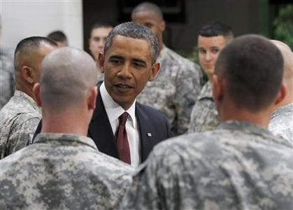 President Obama thanks U.S. Army troops for their service at Fort Bliss, Texas, August 31, 2010. REUTERS/Jason Reed