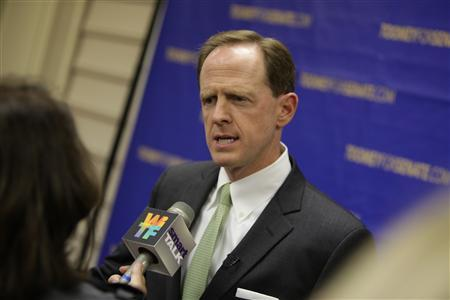 Republican candidate Pat Toomey speaks to the press on his Pennsylvania state tour May 19, 2010. REUTERS/Courtesy of www.toomeyforsenate.com/Handout