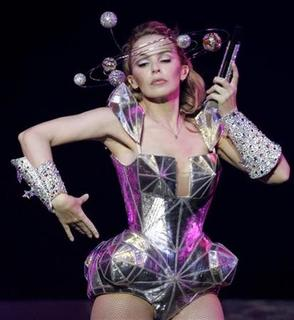 Kylie Minogue performs during the first concert of her North American tour in Oakland, September 30, 2009. REUTERS/Robert Galbraith