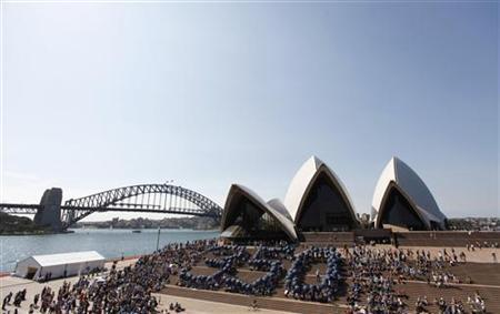 Climate change activists form a giant ''350'' at the steps of the Opera House in central Sydney October 24, 2009. Current levels stand at 387 ppm. REUTERS/Daniel Munoz