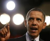 <p>U.S. President Barack Obama speaks about the economy at the Cuyahoga Community College West Campus in Parma, Ohio, near Cleveland, September 8, 2010. REUTERS/Larry Downing</p>