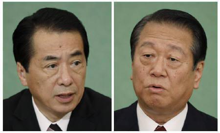 9月10日、菅首相(左)と小沢前幹事長の一騎打ちとなった民主党代表選について、ロイターは市場関係者を対象に緊急アンケート調査を実施。2日撮影(2010年 ロイター/Yuriko Nakao)