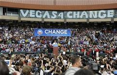 "<p>Democratic presidential nominee Senator Barack Obama (D-IL) addresses the crowd during his ""Change You Can Believe In"" rally at Cashman Field in Las Vegas, Nevada September17, 2008. REUTERS/David Allio</p>"