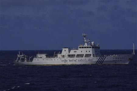 A Chinese marine surveillance ship is seen in this handout photo taken from a Japan Coast Guard survey ship in waters 280 kilometres west northwest of Japan's Southern Okinawa island, September 11, 2010. REUTERS/Japan Coast Guard/Handout