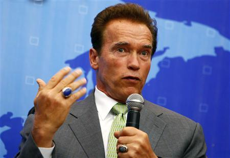 California Governor Arnold Schwarzenegger speaks during a Bay Area Council business event in Shanghai September 13, 2010. REUTERS/Aly Song