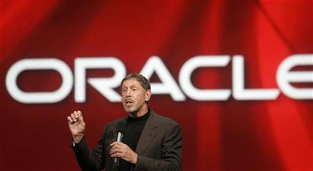 Oracle Chief Executive Larry Ellison delivers his keynote address at Oracle OpenWorld in San Francisco, September 24, 2008. REUTERS/Robert Galbraith