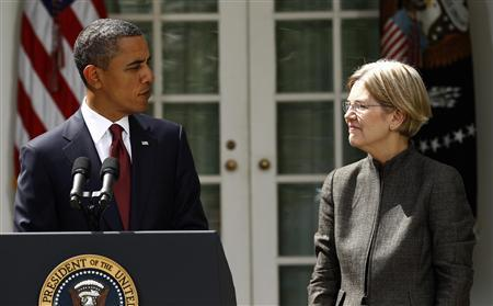 President Barack Obama announces consumer advocate Elizabeth Warren as special adviser leading the creation of the Consumer Financial Protection Bureau in the Rose Garden of the White House in Washington September 17, 2010. REUTERS/Kevin Lamarque