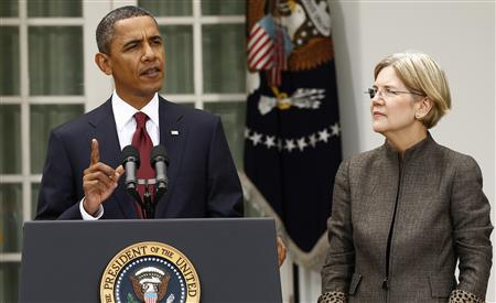 President Barack Obama announces consumer advocate Elizabeth Warren (R) as special adviser leading the creation of the Consumer Financial Protection Bureau in the Rose Garden of the White House in Washington September 17, 2010. REUTERS/Kevin Lamarque