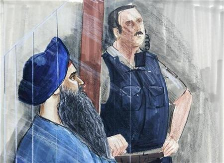 An artist's sketch shows Inderjit Singh Reyat (L) appearing in BC Supreme Court in Vancouver British Columbia, March 27, 2006. REUTERS/Felicity Don