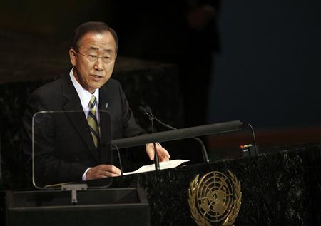 U.N. Secretary-General Ban Ki-moon speaks during the Millennium Development Goals Summit at the U.N. headquarters in New York September 20, 2010. REUTERS/Eric Thayer
