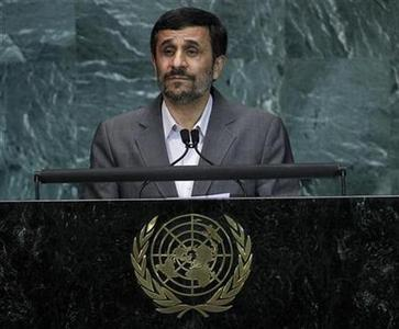 Iran's President Mahmoud Ahmadinejad speaks during the Millennium Development Goals Summit at the U.N. headquarters in New York, September 21, 2010. REUTERS/Shannon Stapleton