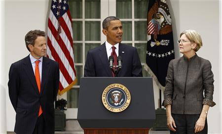 President Barack Obama announces consumer advocate Elizabeth Warren (R) as special adviser leading the creation of the Consumer Financial Protection Bureau as Treasury Secretary Timothy Geithner (L) looks on in the Rose Garden of the White House in Washington September 17, 2010. REUTERS/Kevin Lamarque