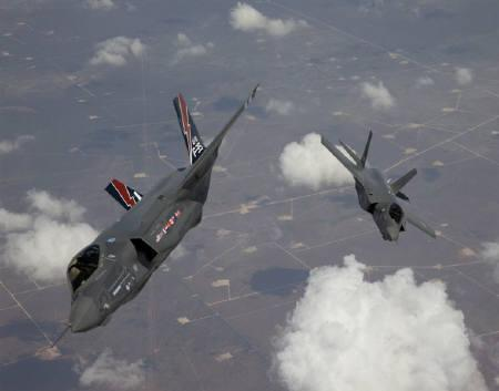 The F-35 Lightning II, also known as the Joint Strike Fighter (JSF), planes arrive at Edwards Air Force Base in California in this May 2010 file photo. REUTERS/Tom Reynolds/Lockheed Martin Corp/Handout/Files