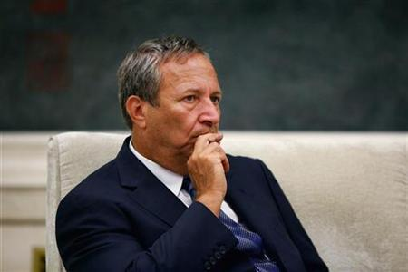 Larry Summers meets with Chinese Communist Party's Central Organization Department Minister Li Yuanchao (not pictured) at the Great Hall of the People in Beijing September 6, 2010. REUTERS/Feng Li/Pool