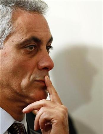 Rahm Emanuel, the White House chief of staff, who is considered a possible candidate of mayor of Chicago, listens to President Barack Obama during a nationally televised news conference in the East Room of the White House in Washington, September 10, 2010. REUTERS/Larry Downing