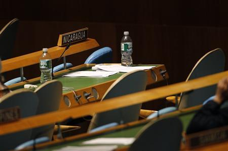 The seats of the Nicaraguan delegation to the United Nations General Assembly sit empty in the General Assembly hall after news broke that a Nicaraguan diplomat was found dead in New York, September 23, 2010. REUTERS/Mike Segar