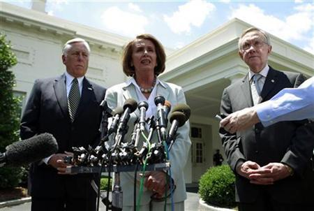 Democrat leaders Rep. Steny Hoyer, Speaker of the House Nancy Pelosi and Senate Majority Leader Harry Reid (L-R) speak after a bipartisan meeting with U.S. President Barack Obama at the White House in Washington June 10, 2010. REUTERS/Kevin Lamarque
