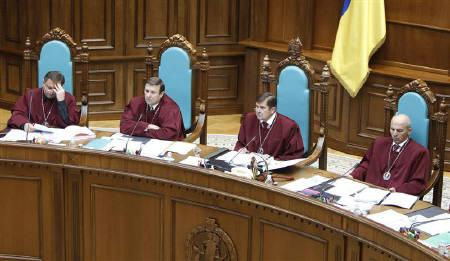 Judges of Ukraine's Constitutional Court attend a hearing on constitutional reform in Kiev, September 23, 2010. REUTERS/Gleb Garanich/Files