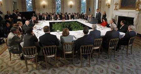 President Obama hosts the President's Economic Recovery Advisory Board (PERAB) meeting in the State Dining Room of the White House, October 4, 2010. REUTERS/Jason Reed