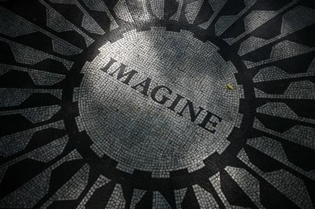 The ''Imagine'' circle in memory of John Lennon is seen in the Strawberry Fields section of New York's Central Park, October 6, 2010. REUTERS/Mike Segar