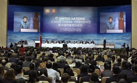 Executive Secretary of the United Nations Framework Convention on Climate Change (UNFCCC) Christiana Figueres speaks at the opening session of the United Nations Climate Change Conference, in Tianjin October 4, 2010. REUTERS/Jason Lee