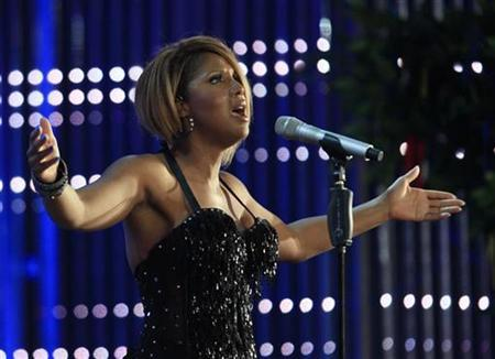 Singer Toni Braxton performs as a guest during the opening show of the young singers contest New Wave in Jurmala July 27, 2010. REUTERS/Ints Kalnins