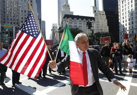 New York Republican gubernatorial candidate Carl Paladino marches in the Columbus day parade in New York City October 11, 2010. REUTERS/Jessica Rinaldi