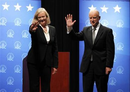California Republican gubernatorial candidate Meg Whitman and her Democratic opponent Jerry Brown wave to the crowd following their debate at Dominican University in San Rafael, October 12, 2010. REUTERS/Rich Pedroncelli/Pool