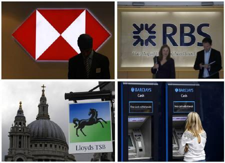 A combination of photographs shows (top L-R) a worker silhouetted against an illuminated sign in a branch of HSBC; two people walking out of the headquarters of the Royal Bank of Scotland; (bottom L-R) a Lloyds bank branch near St Paul's Cathedral and a customer using a Barclays ATM, in central London, July 23, 2010. REUTERS/Andrew Winning/Files