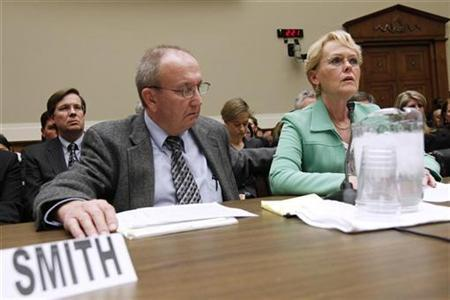 Eddie and Rhonda Smith testify before a hearing on the ''Response By Toyota and NHTSA (National Highway Traffic Safety Administration) to Incidents of ''sudden unintended acceleration'' on Capitol Hill, February 23, 2010. REUTERS/Kevin Lamarque