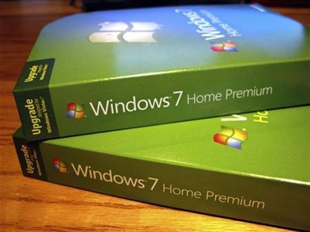 Packages of the new Windows operating system, Windows 7 sit on a desk before being installed in Golden, Colorado October 22, 2009. REUTERS/Rick Wilking
