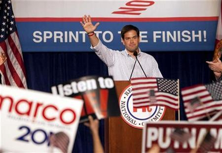 Marco Rubio, Republican candidate for the U.S. Senate, waves to the crowd during the Republican 2010 Victory Fundraising Rally in Orlando, Florida October 23, 2010. REUTERS/Scott Audette