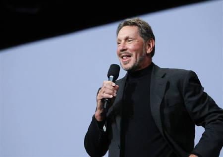 Oracle CEO Larry Ellison addresses the audience during his keynote address at Oracle Open World in San Francisco, California September 22, 2010.  REUTERS/Robert Galbraith/Files