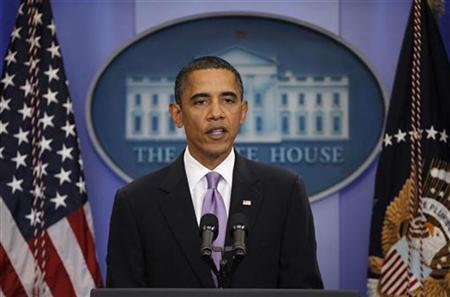 President Barack Obama makes a statement to the press in the Brady Press Briefing Room of the White House in Washington October 29, 2010. REUTERS/Jason Reed