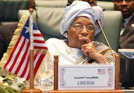Liberia's President Ellen Johnson Sirleaf attends the opening session of the 2nd Arab-Africa summit in Sirte October 10, 2010. REUTERS/Ismail Zitouny
