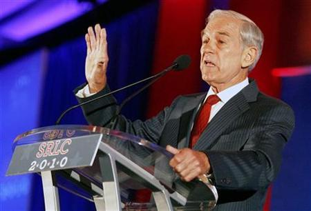 Texas Congressman Ron Paul speaks at the 2010 Southern Republican Leadership Conference in New Orleans, Louisiana April 10, 2010. REUTERS/Sean Gardner