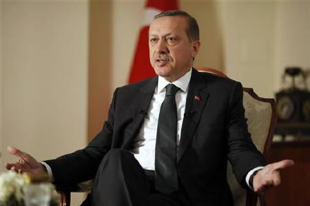 Turkey's Prime Minister Recep Tayyip Erdogan speaks during an interview with Reuters in his residence in Ankara November 9, 2010. REUTERS/Umit Bektas