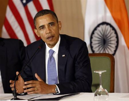 U.S. President Barack Obama speaks at a Summit in Mumbai November 6, 2010. REUTERS/Jason Reed/Files