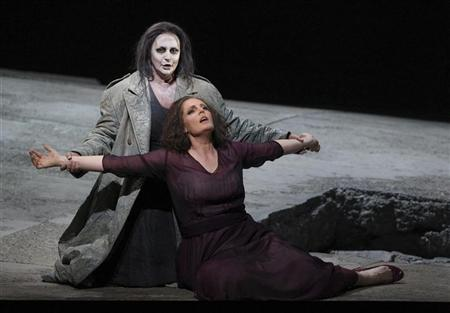 Bleak: In a previous production of Richard Strauss' opera ''Elektra'', Singer Irene Theorin and Eva-Maria Westbroek perform during a dress rehearsal in Salzburg. REUTERS/Dominic Ebenbichler