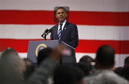 President Barack Obama holds a Veterans Day event at U.S. Army Garrison at Yongsan military base in Seoul, November 11, 2010. REUTERS/Jason Reed