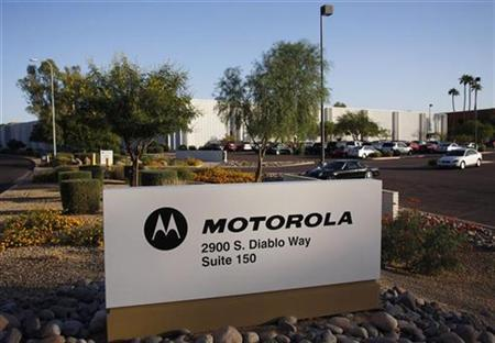 Signage for Motorola is displayed outside their office building in Tempe, Arizona in this October 29, 2009 file photo. REUTERS/Joshua Lott