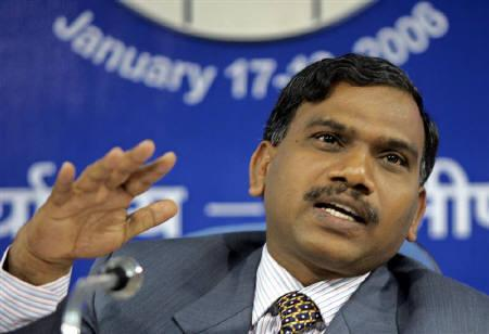 Andimuthu Raja speaks during a news conference in New Delhi January 18, 2006. REUTERS/B Mathur/Files