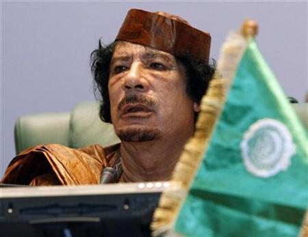 Libyan leader Muammar al-Gaddafi attends the opening session of the second Afro-Arab Summit in Sirte October 10, 2010. REUTERS/Ismail Zitouny