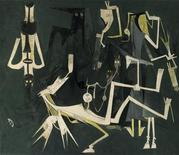 "<p>Picture of Cuban painter Wifredo's Lam's ""Les Abalochas Dansent pour Dhambala, dieu de l'Unite, which fetched $2.15 million at Sotheby's Latin American art sale on November 16, 2010, setting a record for the artist. REUTERS/Sotheby's/Handout</p>"