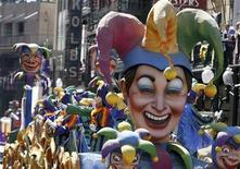 <p>Members of the Krewe of Rex ride on a float down St. Charles Avenue during Mardi Gras Day in New Orleans, Louisiana February 24, 2009. REUTERS/Sean Gardner</p>