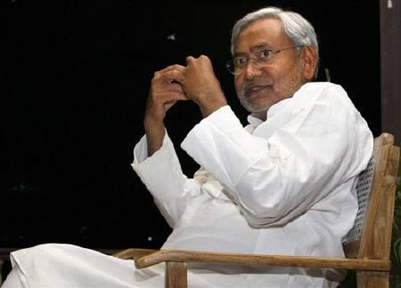 Nitish Kumar speaks during an interview with Reuters in Patna March 31, 2009. Nitish Kumar, who spearheaded the development of one of India's poorest states, was re-elected in a landslide as Bihar's chief minister on  Wednesday, in a blow to the ruling Congress party mired in a graft scandal. REUTERS/Stringer/Files