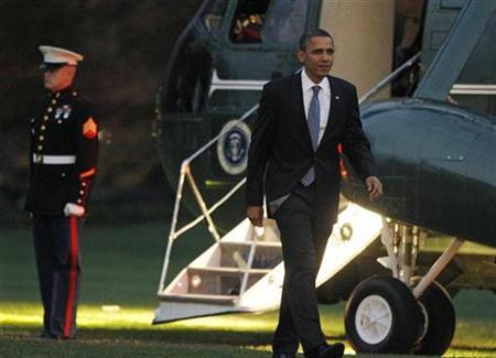 U.S. President Barack Obama returns to the White House in Washington, November 23, 2010, following a daytrip to Kokomo, Indiana. REUTERS/Jason Reed